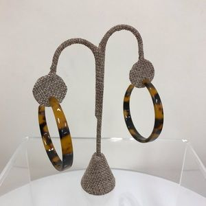 NWT Hush Tortoise Pattern Large Half Hoop Earrings